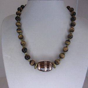 """Brown Tigers Eye and Glass Bead Necklace 19"""" L"""